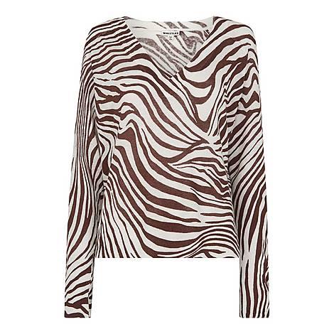 Graphic Zebra Print Linen Knit, ${color}