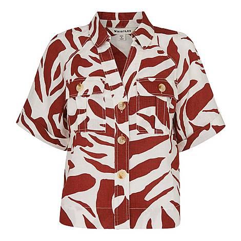 Graphic Zebra Linen Shirt, ${color}