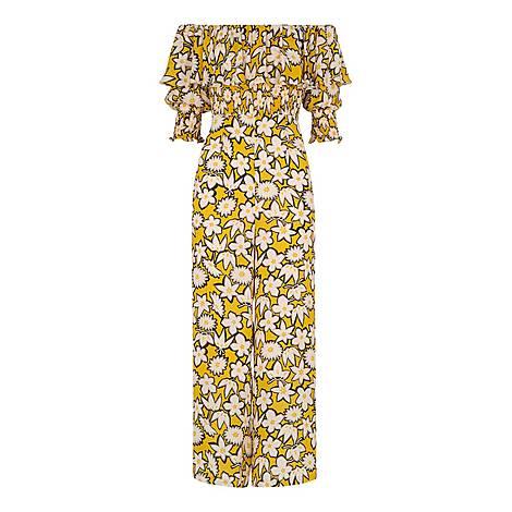 Rhea Print Silk Jumpsuit, ${color}
