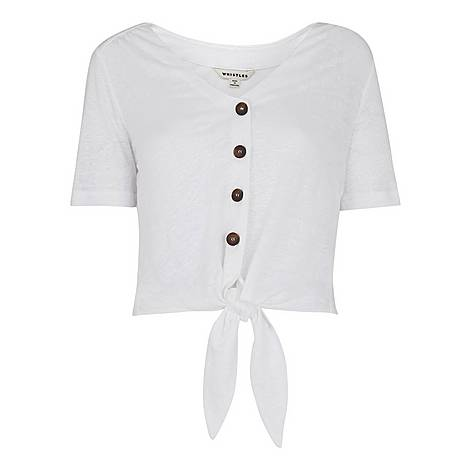 Button Front Tie Top, ${color}