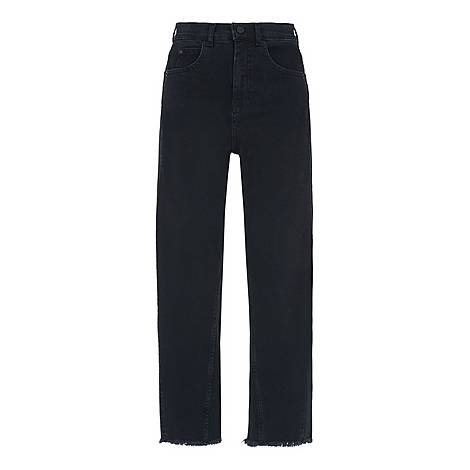 High Waist Barrel Leg Jeans, ${color}