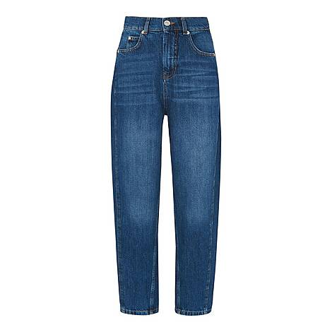 High Waist Barrel Leg Jeans, ${color}