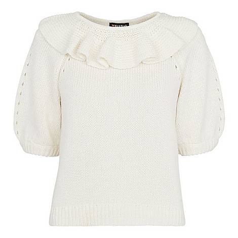 Frill Neck Knit Sweater, ${color}