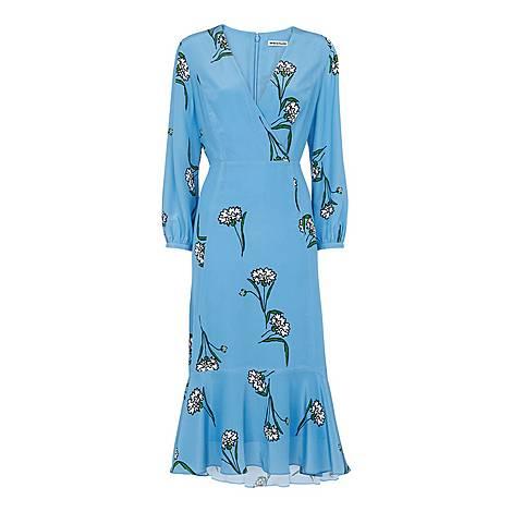 Sprig Flower Silk Dress, ${color}