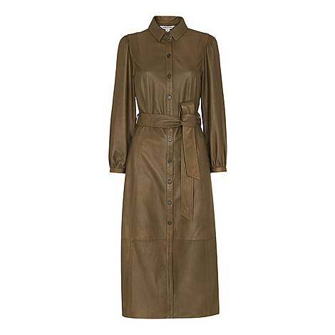 Phoebe Leather Shirt Dress, ${color}