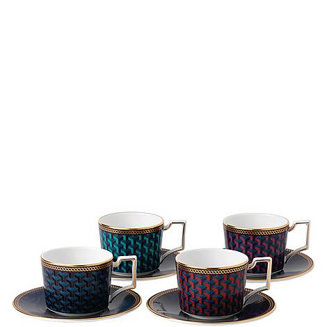 Byzance Set of 4 Espresso Cups and Saucers, ${color}