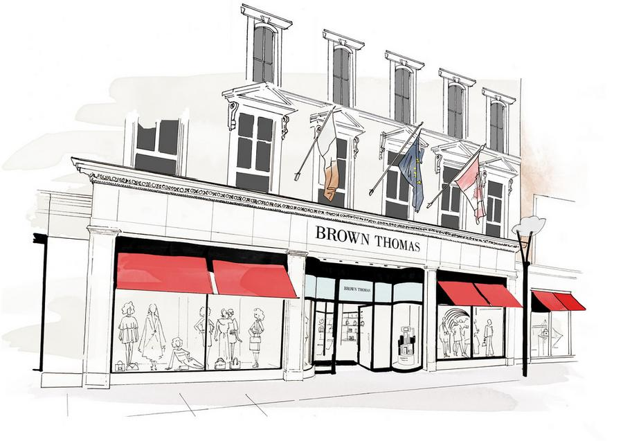 Brown Thomas Dublin store illustration