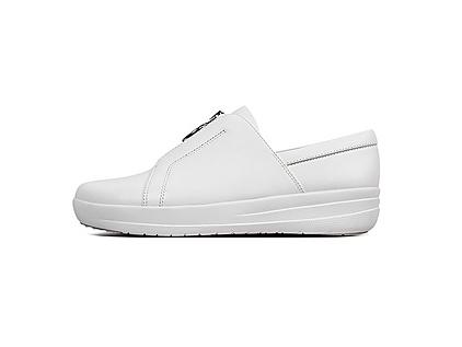 Women's white leather sneakers with zip up fronts.