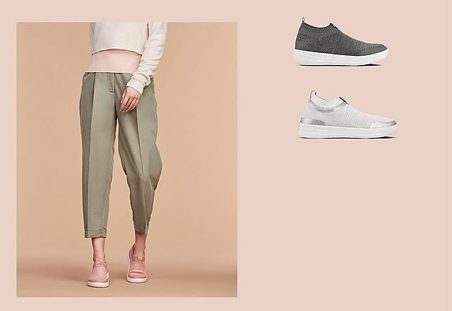 Soft, stretchy slip-on knitted sneakers featuring a metallic weave. Shown in dusty pink, Grey and white.