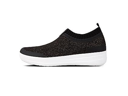 Uberknit Slip-on sneakers in Black. Smothered in shimmering multi-tonal crystals.