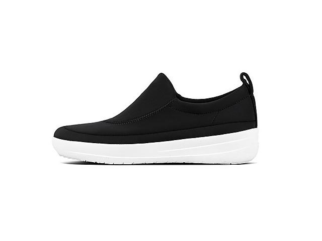Freeflex Black scuba sneakers with white base.