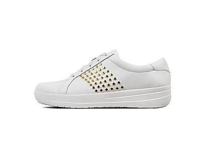 White leather tennis style sneakers with gold studded details.