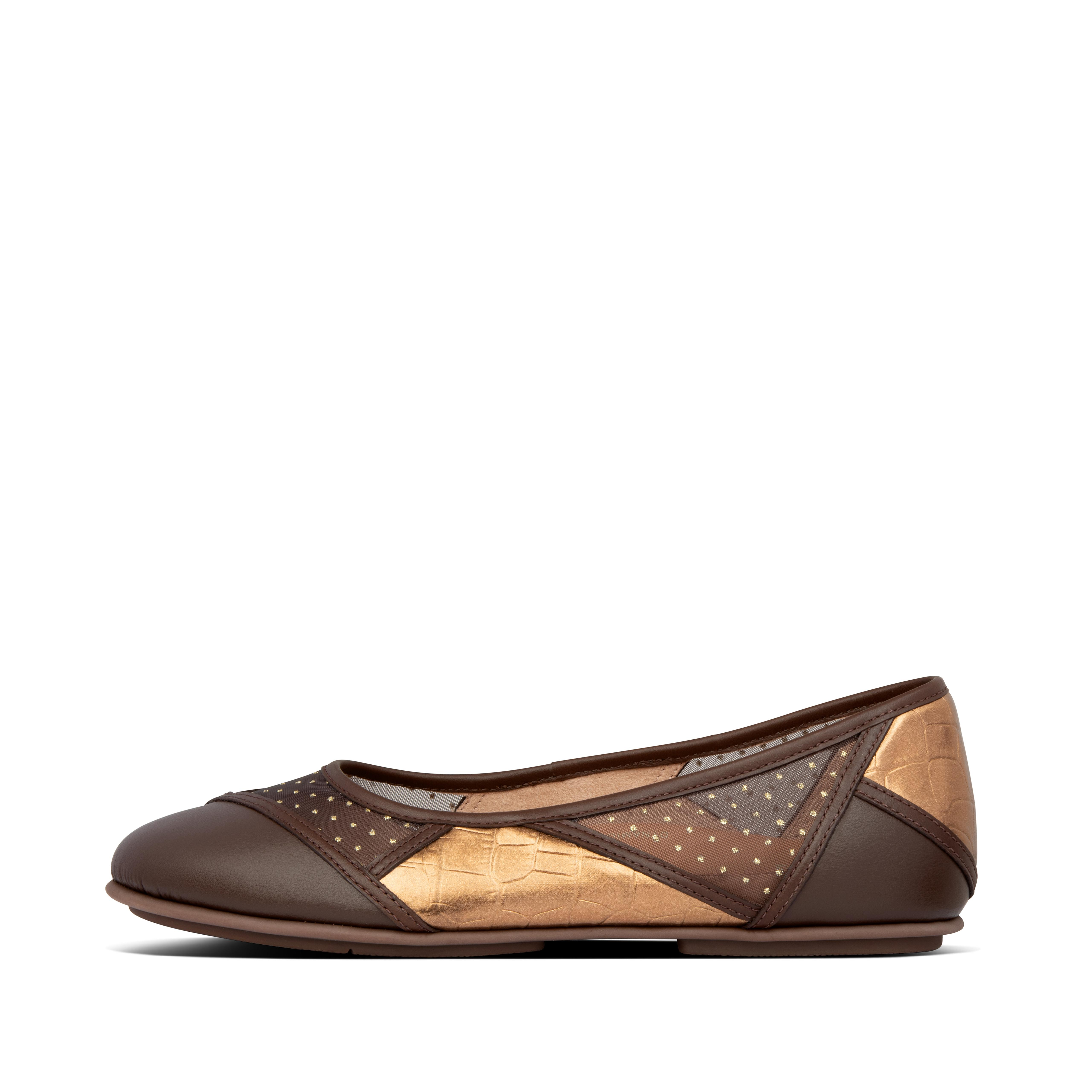 These ballet flats will have you in a whirl. Looking like classic ballet flats but feeling like sneakers - you\\\'ll wonder just where we fit our comfort tech. Think genius design: sleek featherlight midsoles, anatomically shaped to support your feet, with our high-rebound Dynamicush™ cushioning hidden in the forefoot. Here in a stunning 70s-inspired patchwork design, mixing smooth leather, shiny metallic mock croc and glitter-dot mesh.
