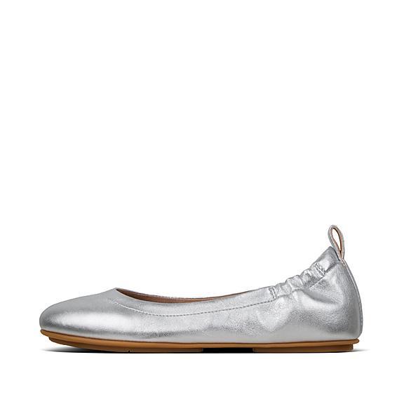 핏플랍 알레그로 발렛 플랫 FitFlop Womens ALLEGRO Leather Ballet Flats,Silver