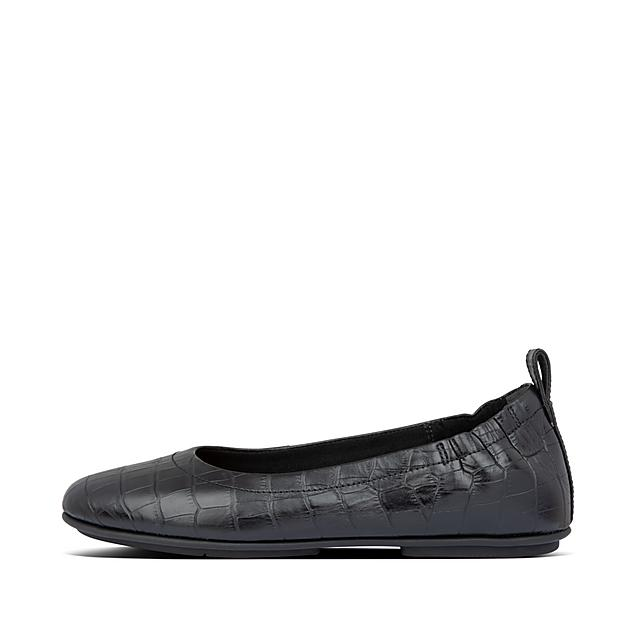Croc Embossed Leather Ballet Flats by Allegro