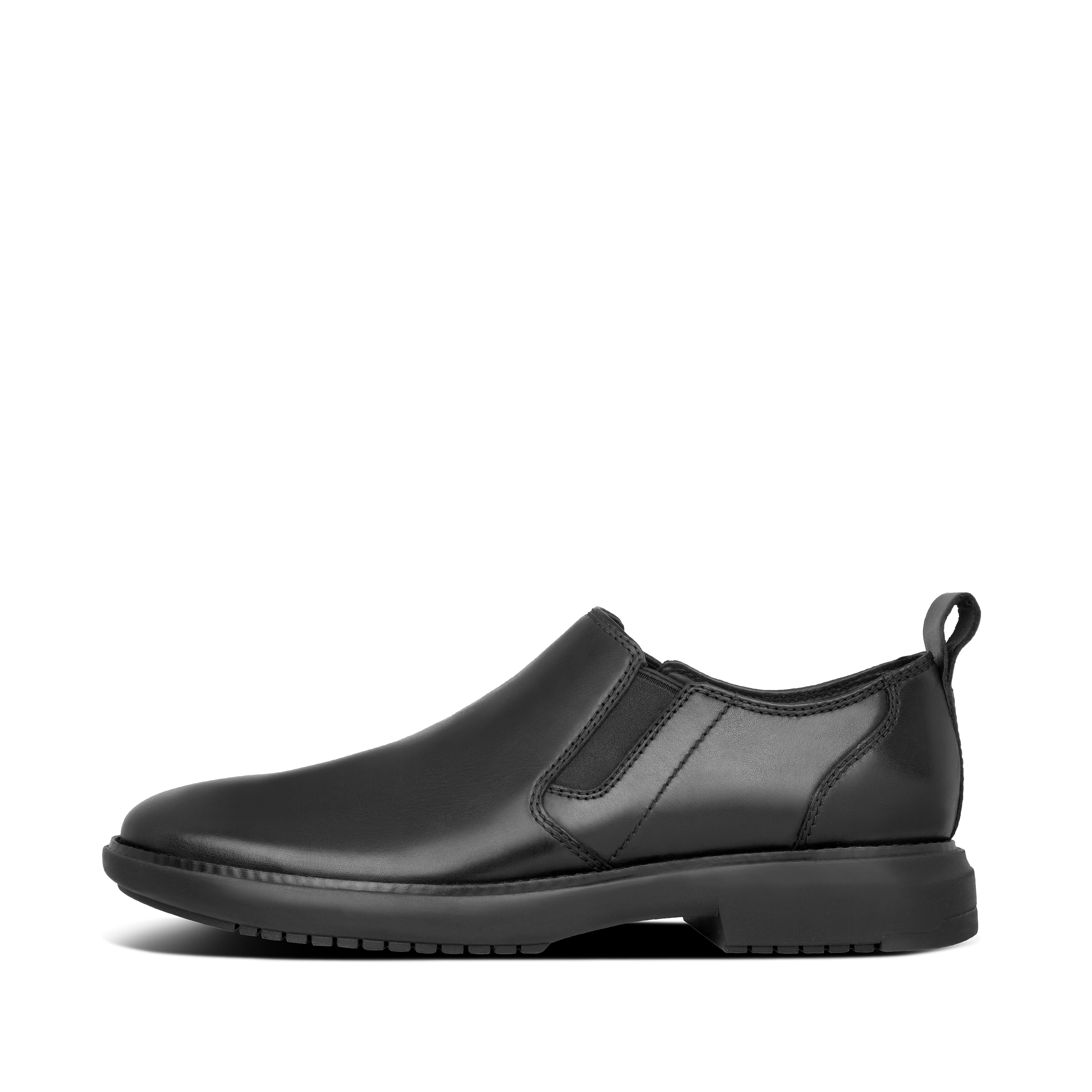 핏플랍 맨 로퍼 FitFlop Mens Anders Leather Shoes,All Black