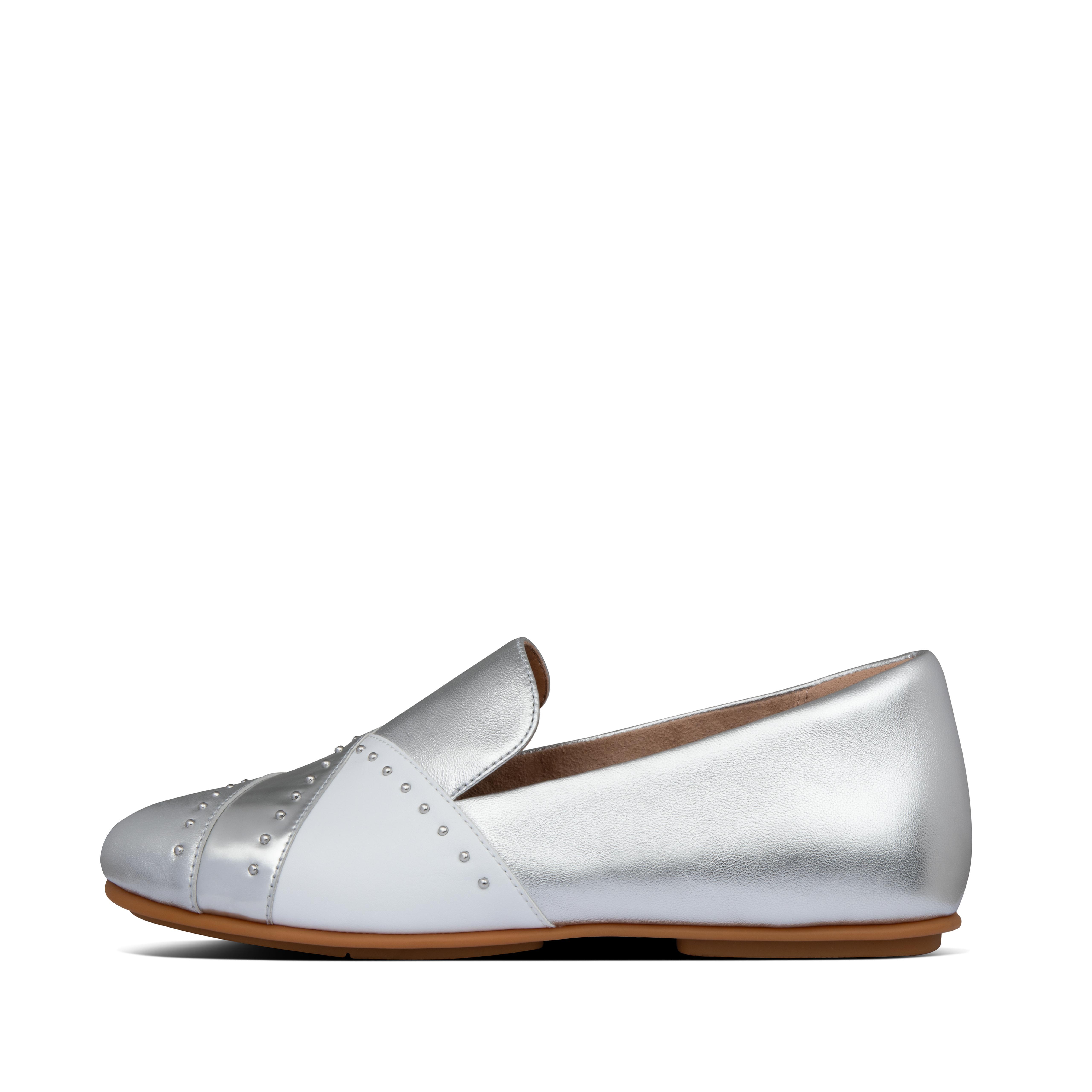 핏플랍 로퍼 FitFlop Womens Lena Faux-Leather Loafers,Silver