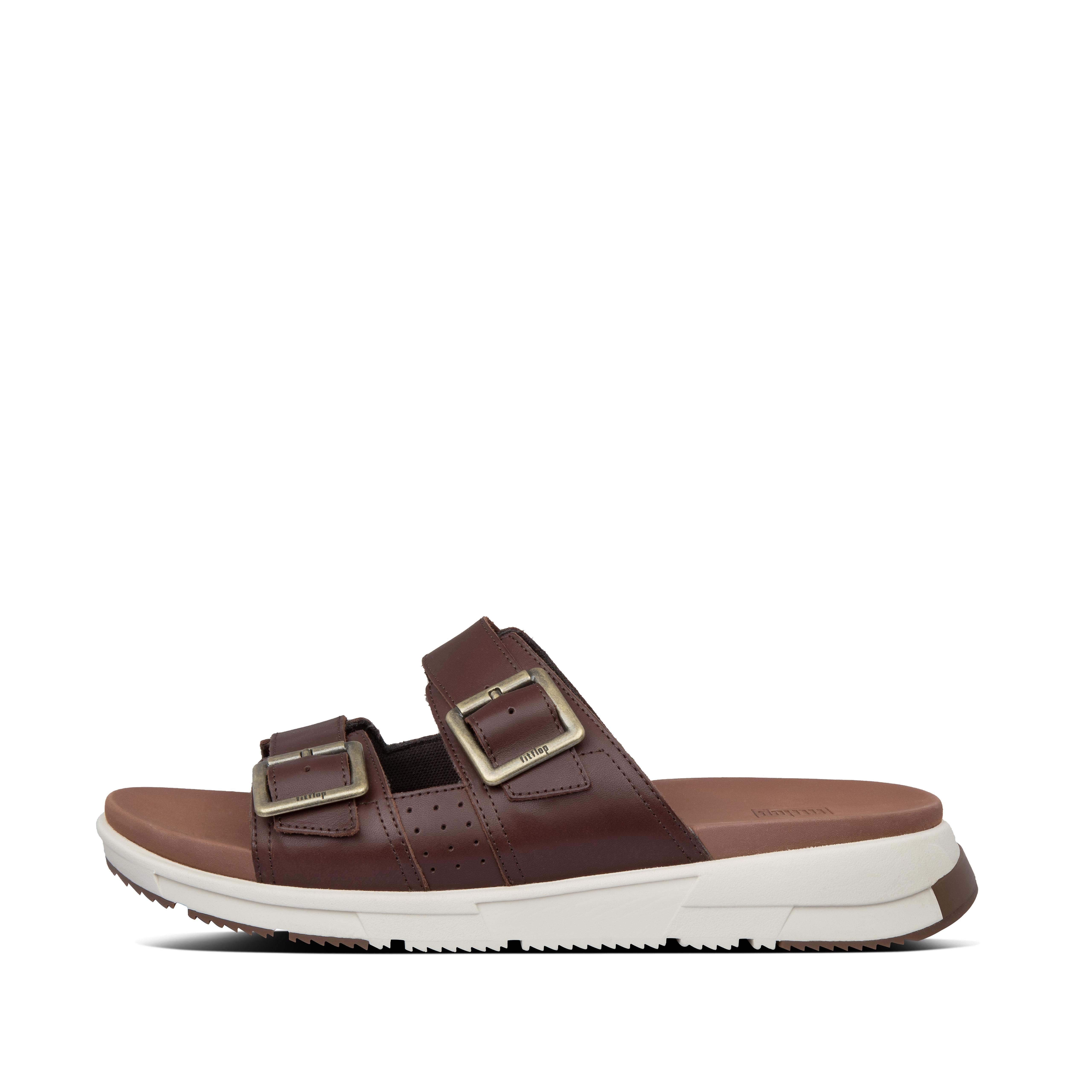핏플랍 ARLO 슬리퍼 Mens Arlo Leather Slides,Cognac