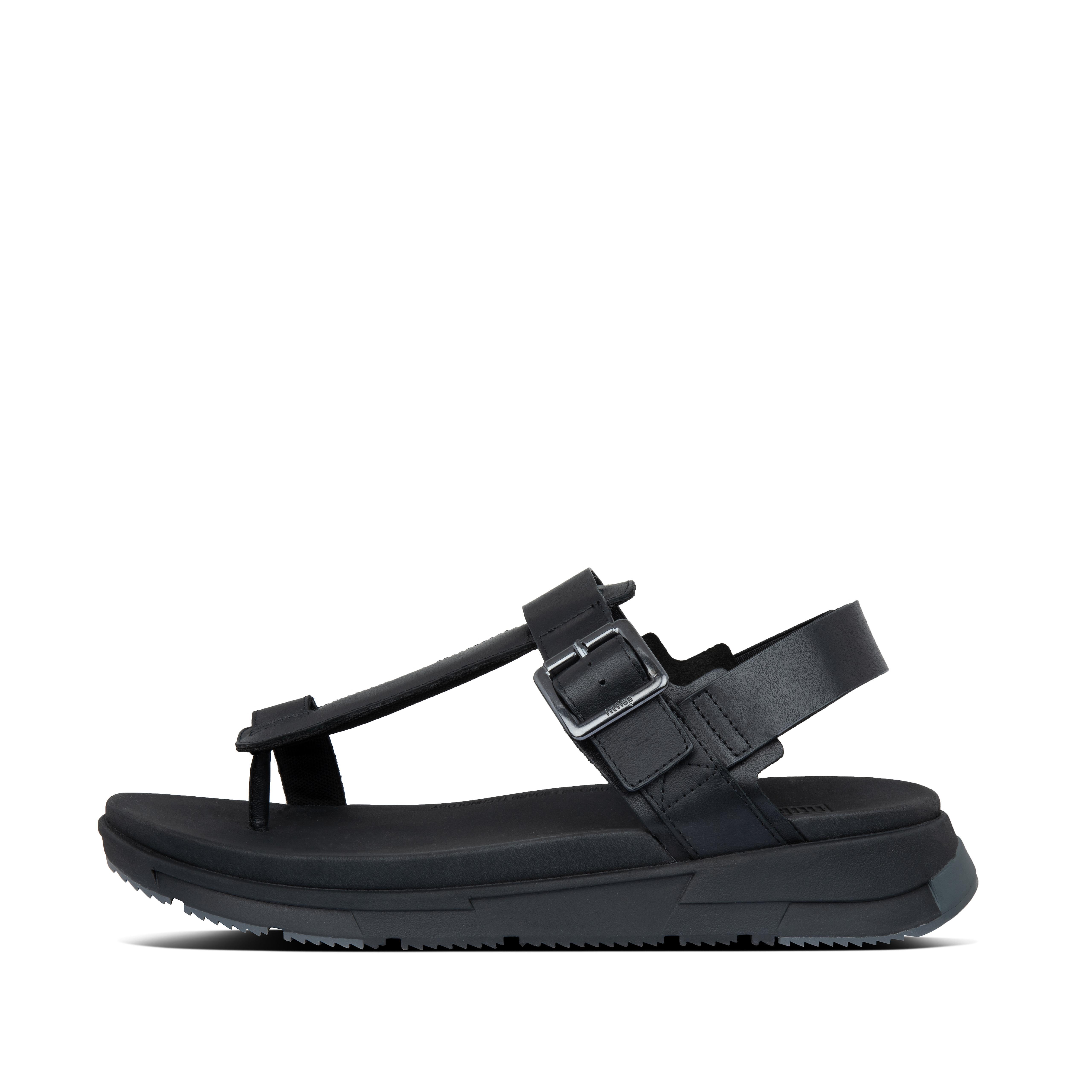 핏플랍 ARLO 샌들 Mens Arlo Leather Back-Strap-Sandals,Black