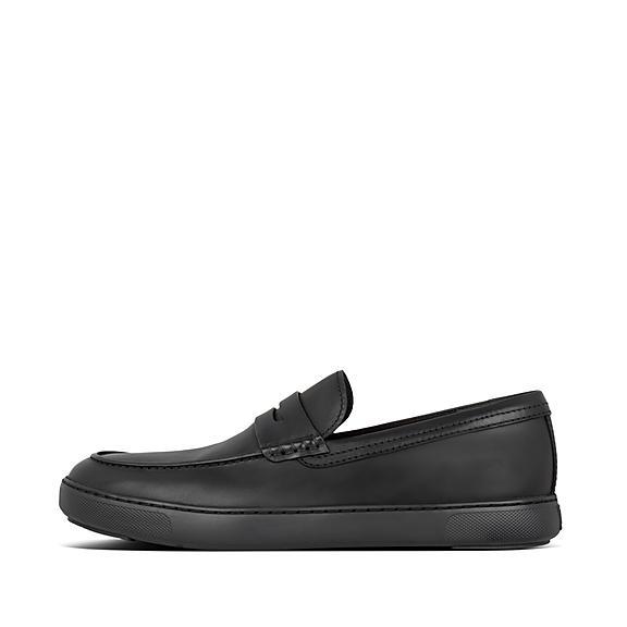 핏플랍 보스턴 로퍼 FitFlop Mens Boston Leather Loafers,All Black