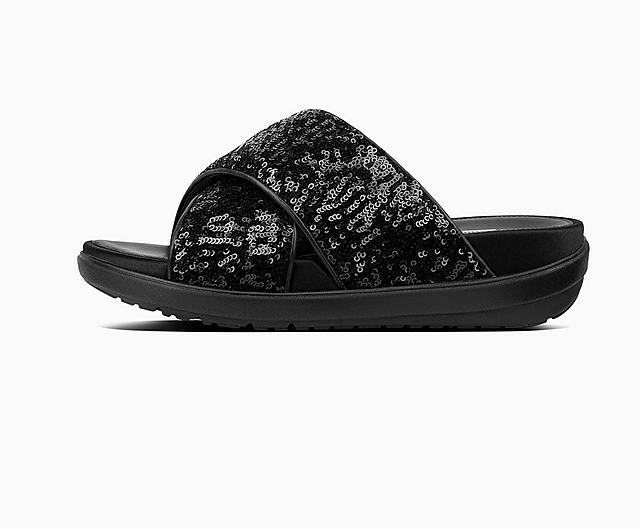 Loosh Luxe Cross slide Sandals in black, featuring sequin straps.