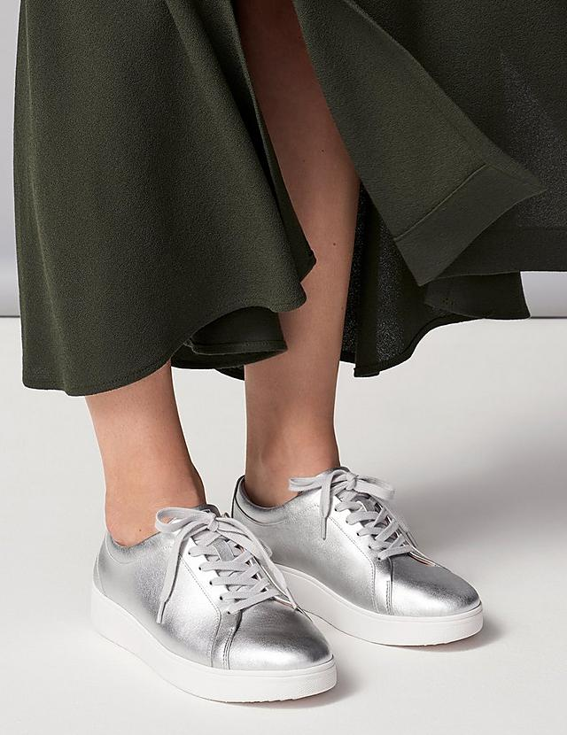 Classic tennis shoe style sneaker, shown in a Metallic leather finish in silver.