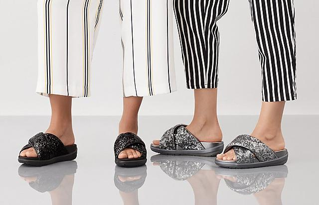 Fitflop Womens Loosh Luxe Slide Sandals in Silver and Black Satin options.
