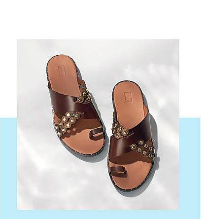 FitFlop Scallop Leather Slides.
