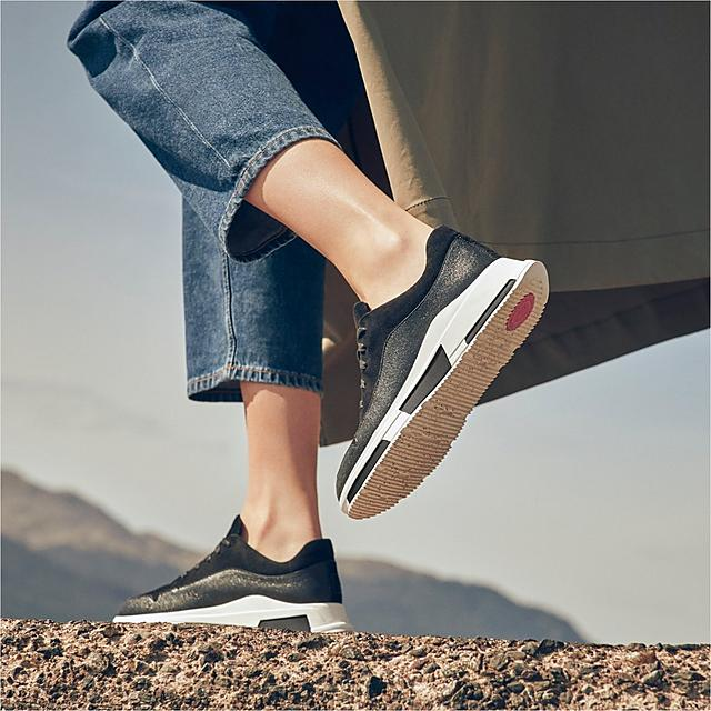 Fitflop Freya chunky sneakers in black with a mixture of suede and metallic material.
