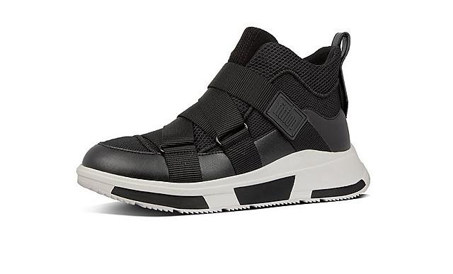 Fitflop slip on sneakers in black with adjustable straps