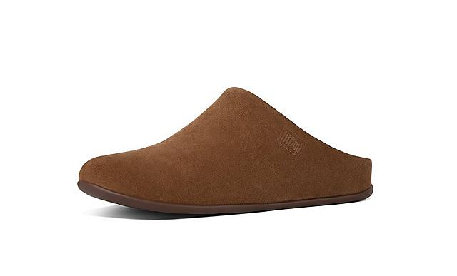 Fitflop mens slip-on suede slippers in brown