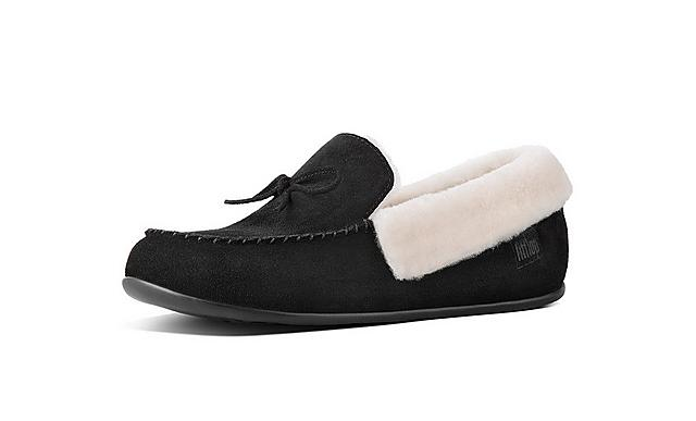 Fitflop black suede slippers with fluffy shearling inside.