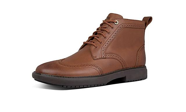 Fitflop mens brogue boot in tan colour