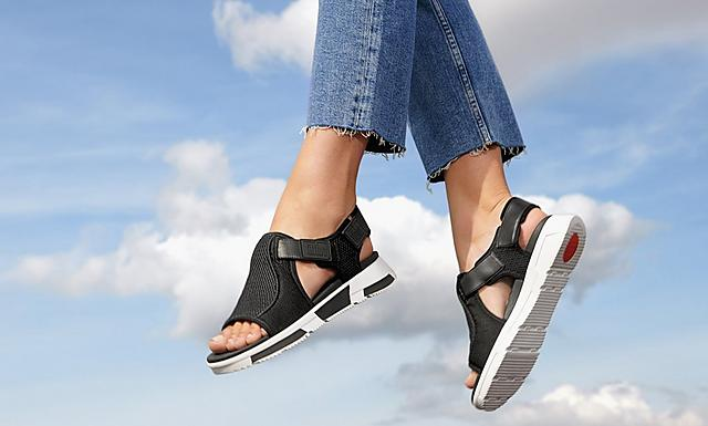 fitflop womens comfortable adjustable mesh back strap alisa sandal in colour black