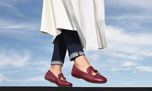 fitflop womens party wedding ocassion leather lena cluster loafers shoes in colour maroon