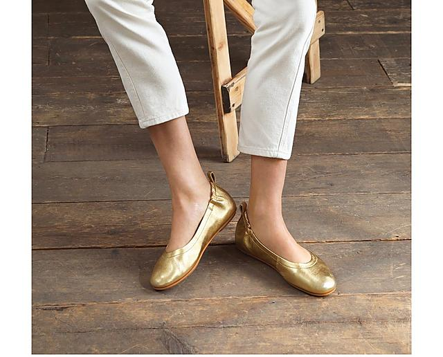Fitflop leather ballerinas in gold