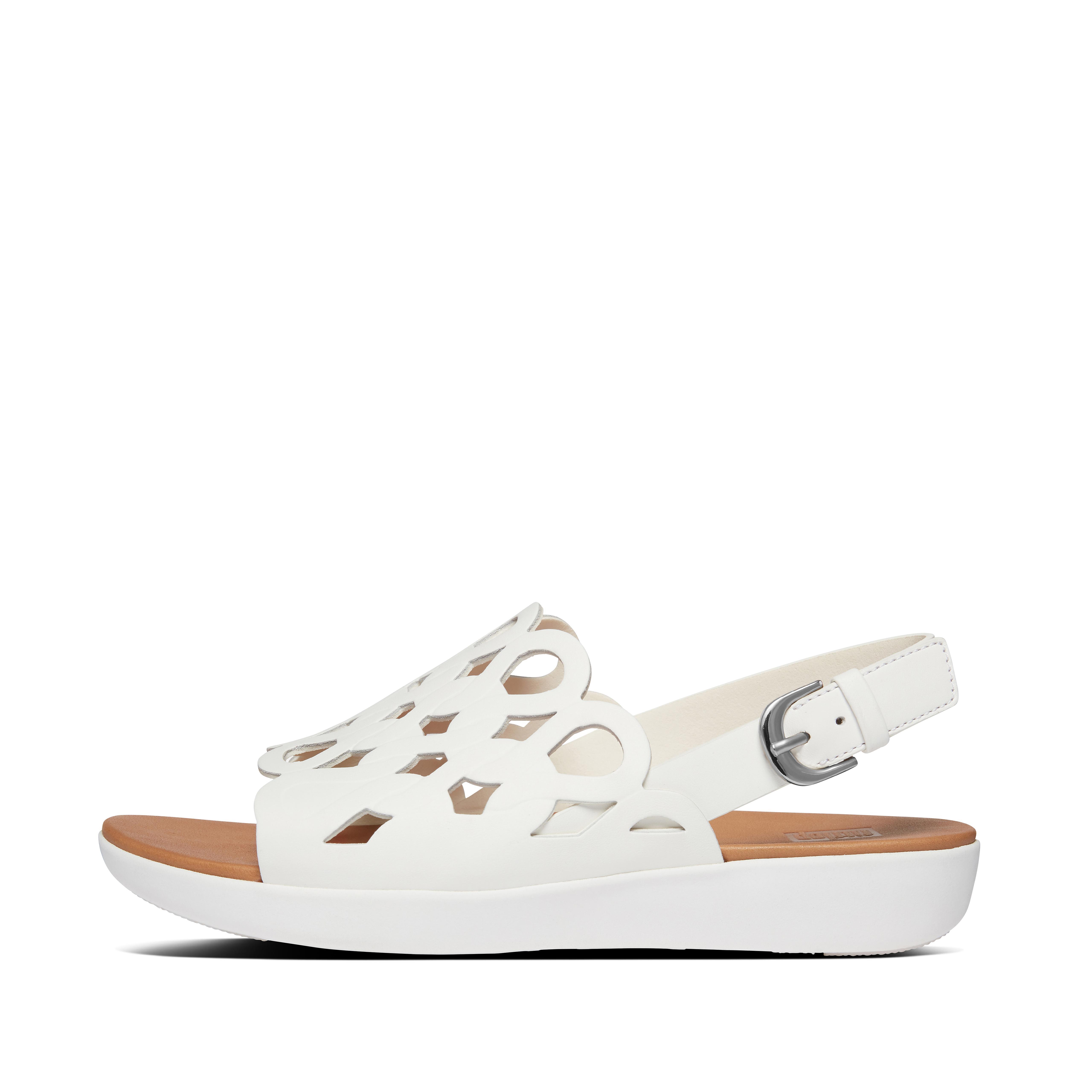핏플랍 샌들 FitFlop Womens Elodie Leather Back-Strap-Sandals,Bright White