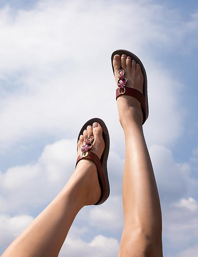 Fitflop Toe-Thong Sandals in red with embellished straps
