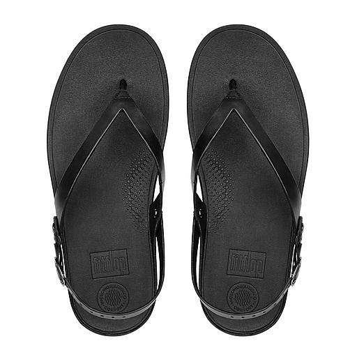FLIP Sandalen Mit Fersenriemen Leder Durchgehend Schwarz