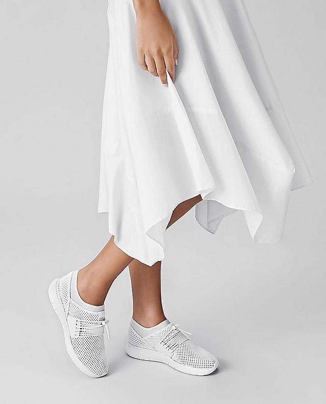 Fitflop Airmesh  slip-on sneakers in white with light stretchy uppers and bungee cord laces