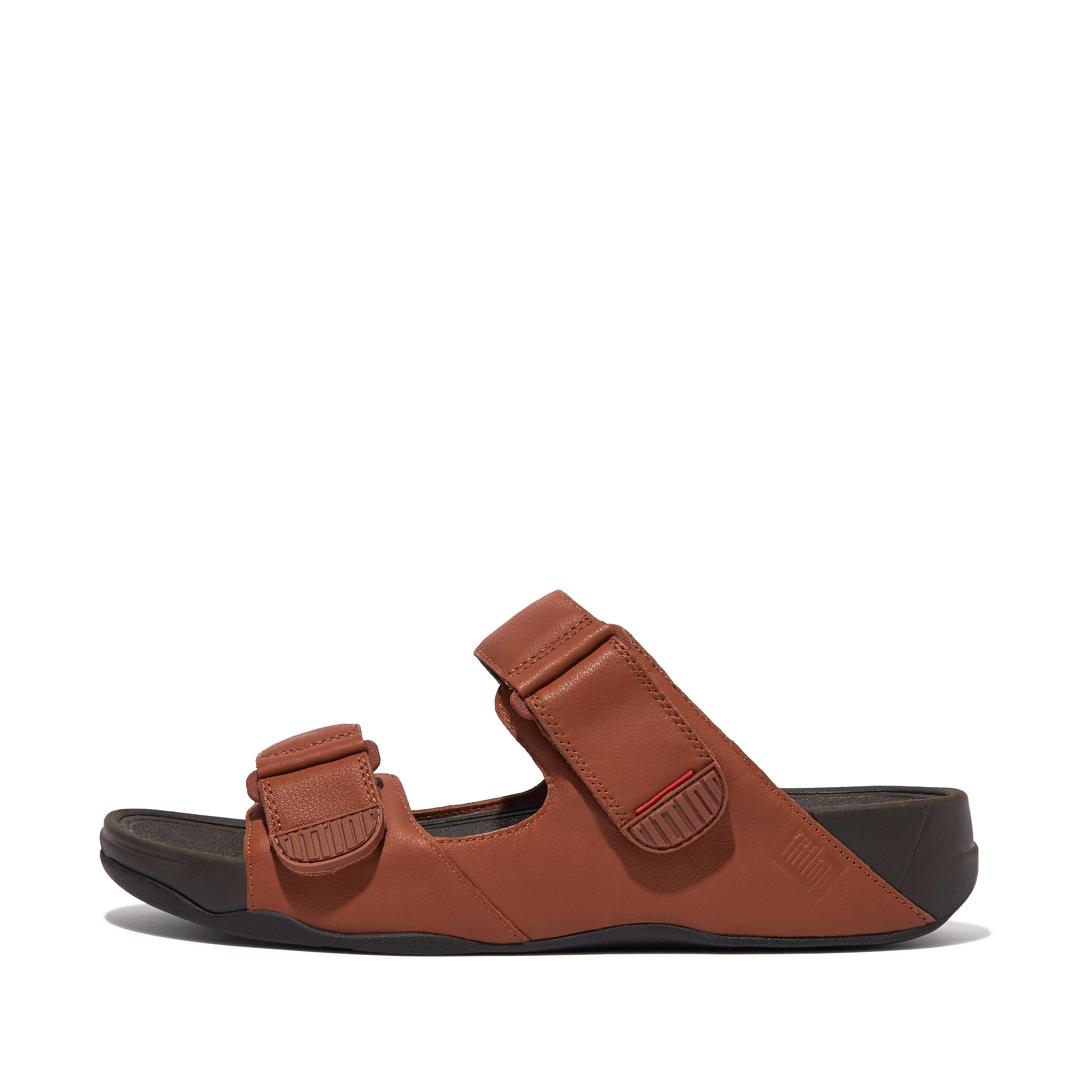 핏플랍 맨 슬리퍼 FitFlop Mens GOGH Leather Slides,Dark Tan