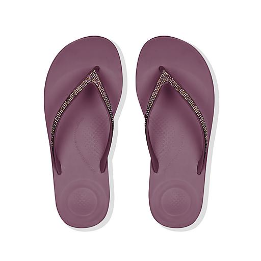FitFlop iQushion Purple Sparkle Flip Flops