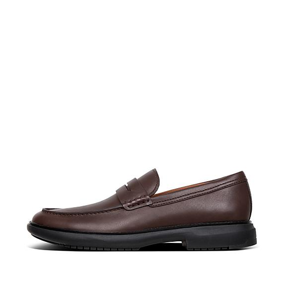 핏플랍 로퍼 FitFlop Mens IRVING Leather Loafers,Chocolate Brown