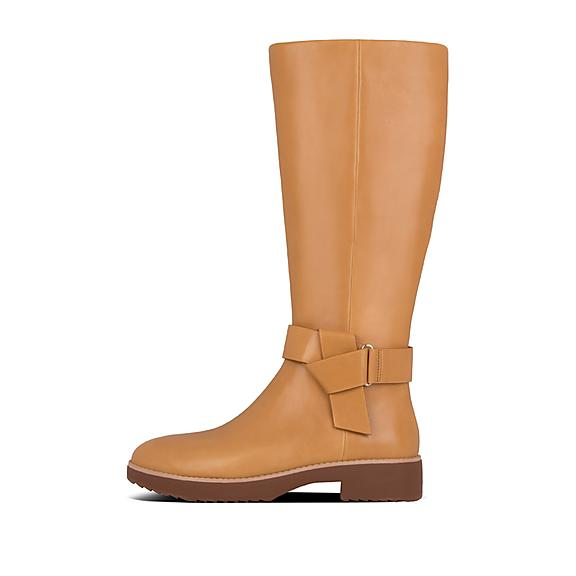핏플랍 노트 가죽 부츠 FitFlop Womens Knot Leather Boots,Mustard