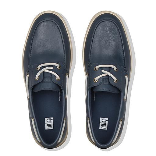 LAWRENCE Leather Boat Style Shoes Bleu nuit | Fitflop EU
