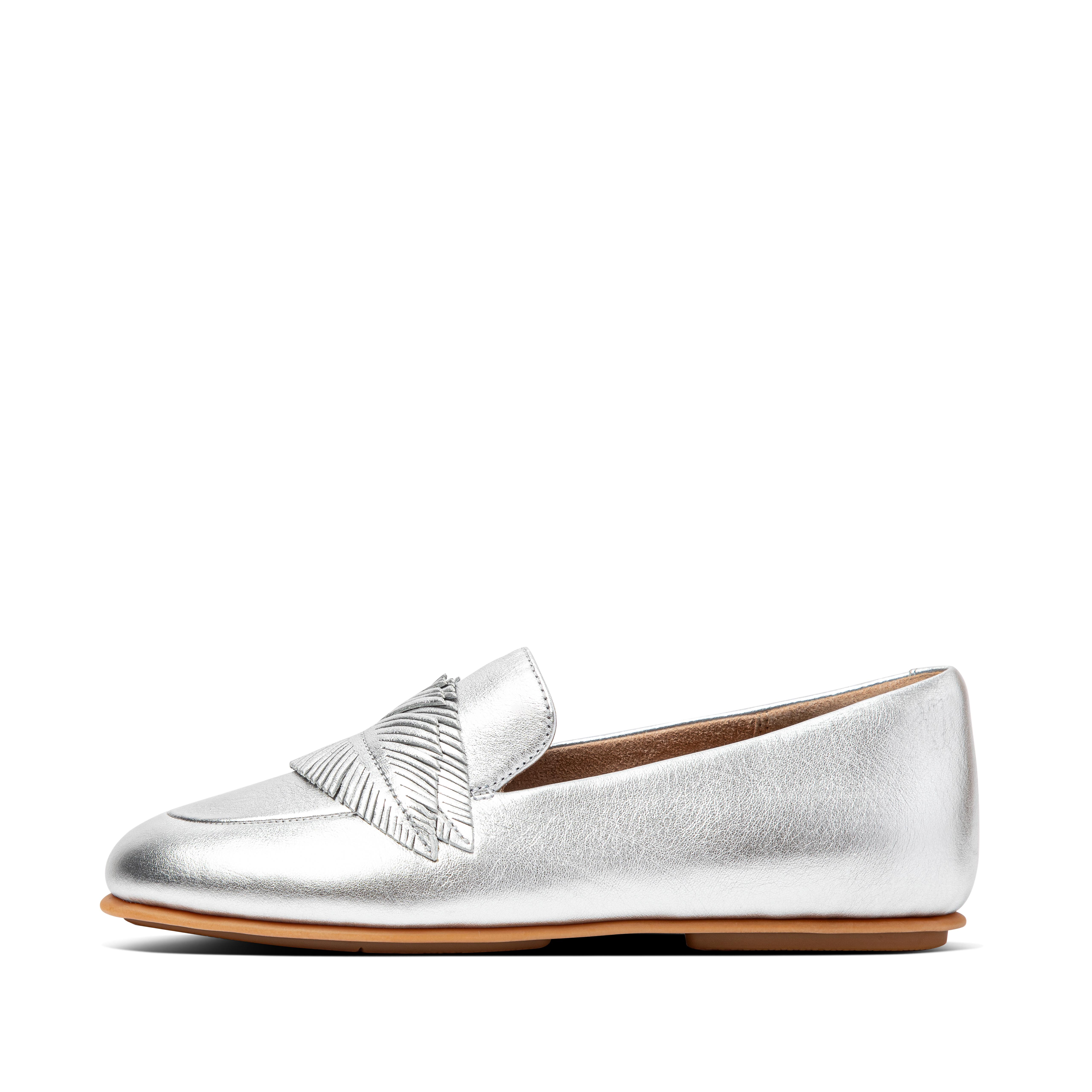Womens Lena Leather Mules , 핏플랍 FitFlop US,Silver