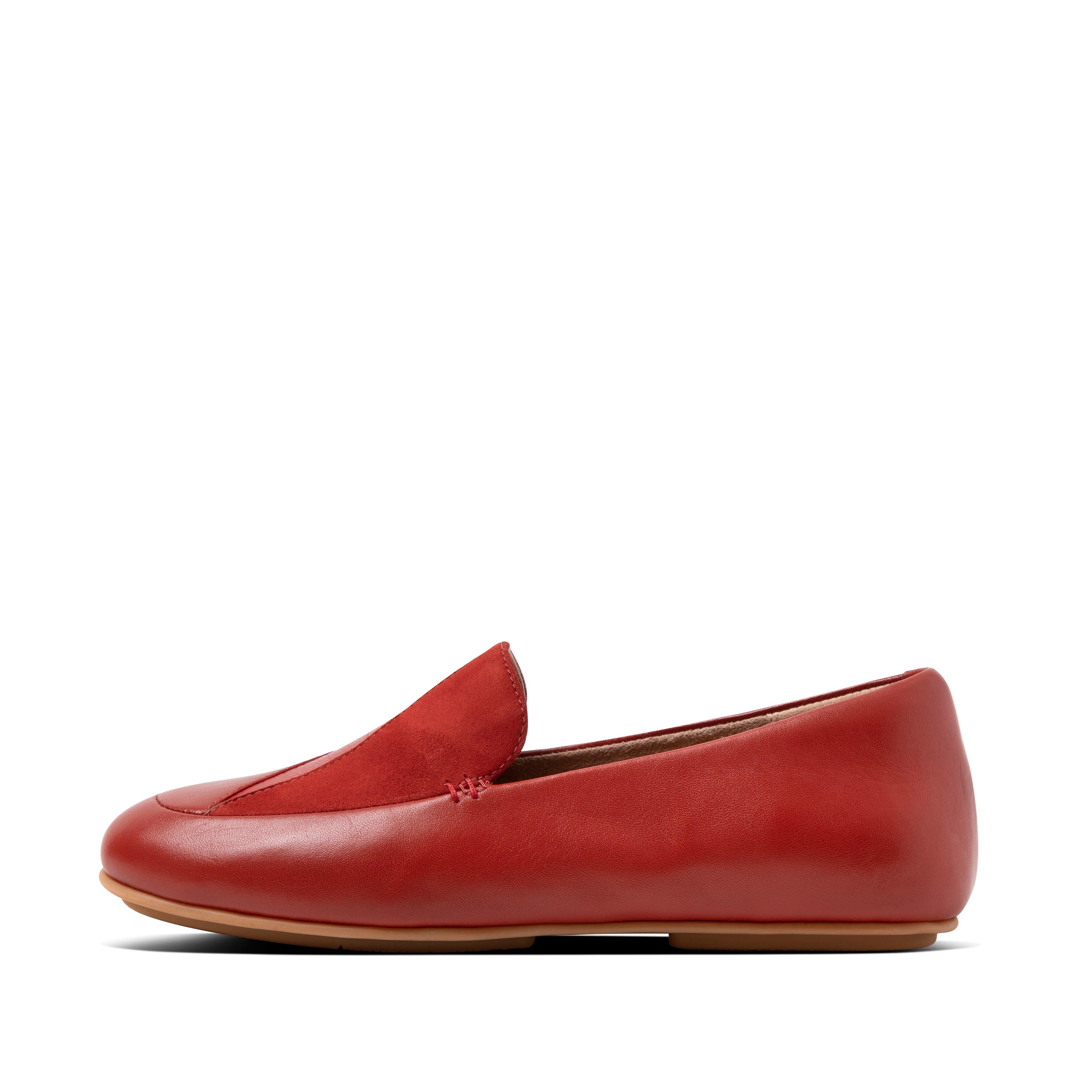핏플랍 로퍼 FitFlop Womens Lena Suede-Leather Loafers,Brick Red