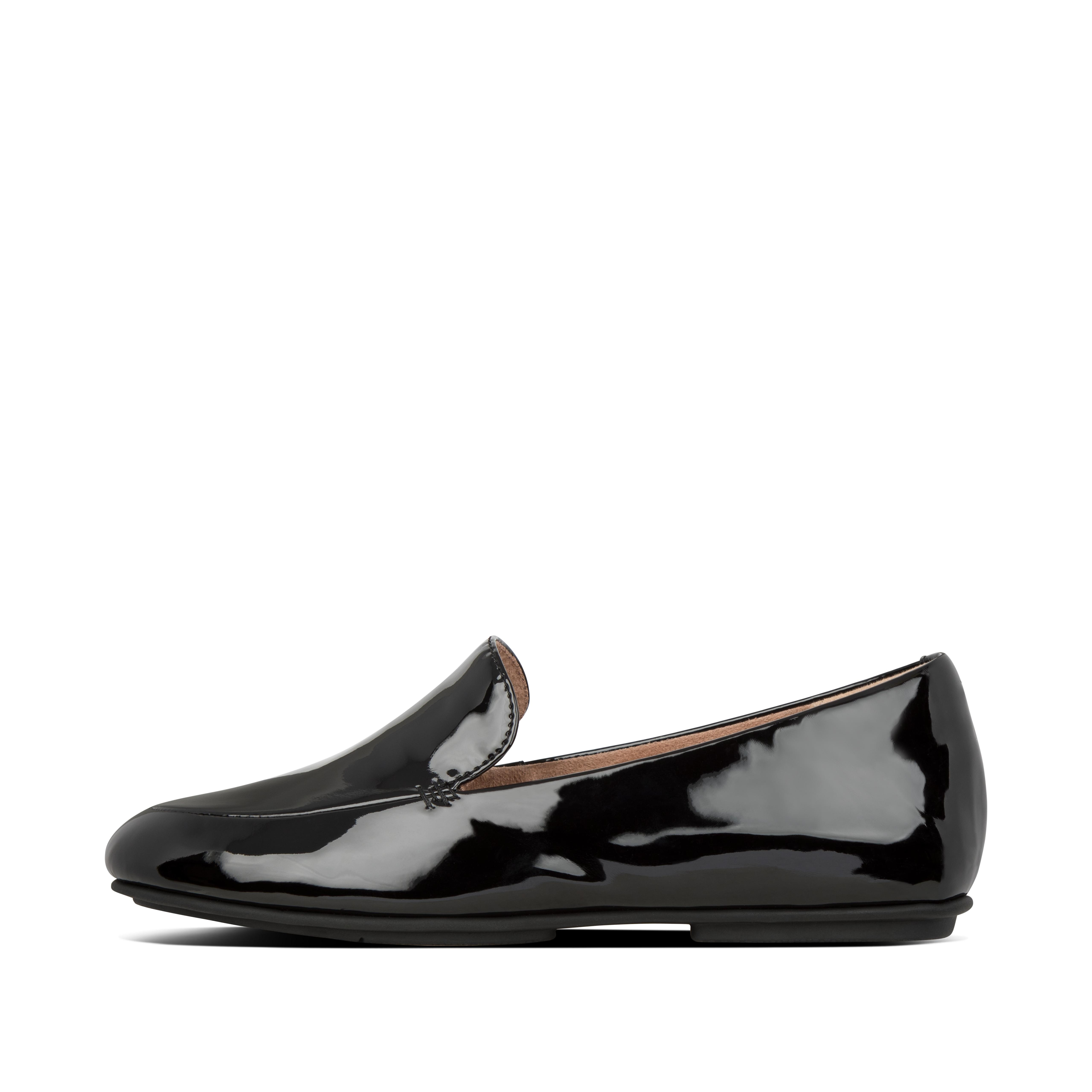 These patent faux-leather loafers are ultimate proof that less is more. Ultra-minimal, light, with an androgynous aesthetic, these\\\'ll add class to every outfit you wear them with. Yet they deliver major comfort and cushioning thanks to their anatomically shaped footbed and our \\\'bouncy\\\' Dynamicush™ tech hidden in a classic \\\'flat sole\\\'. These patent loafers come in black and taupe finishes.