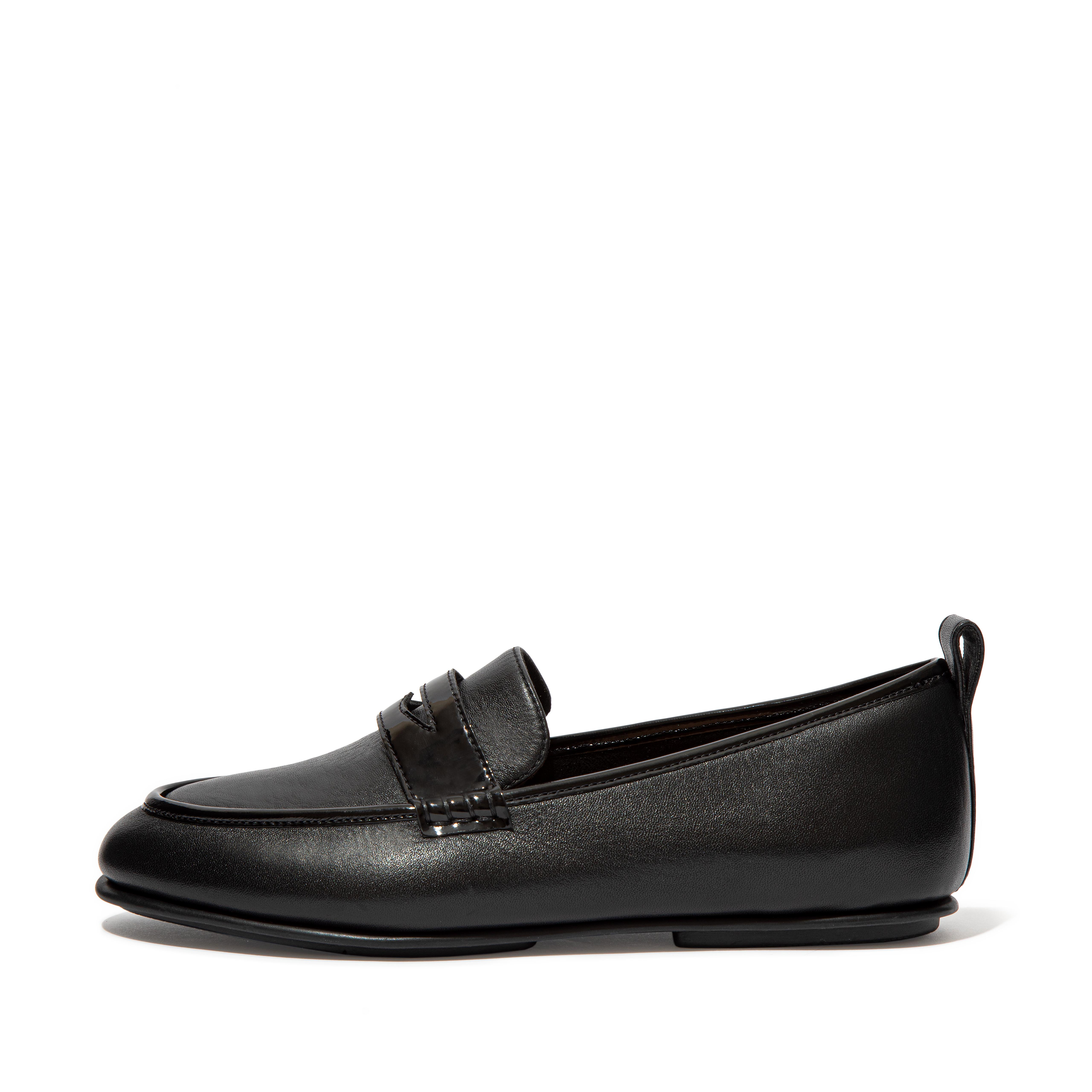 Womens Lena Leather-Pu Loafers , 핏플랍 FitFlop US,All Black