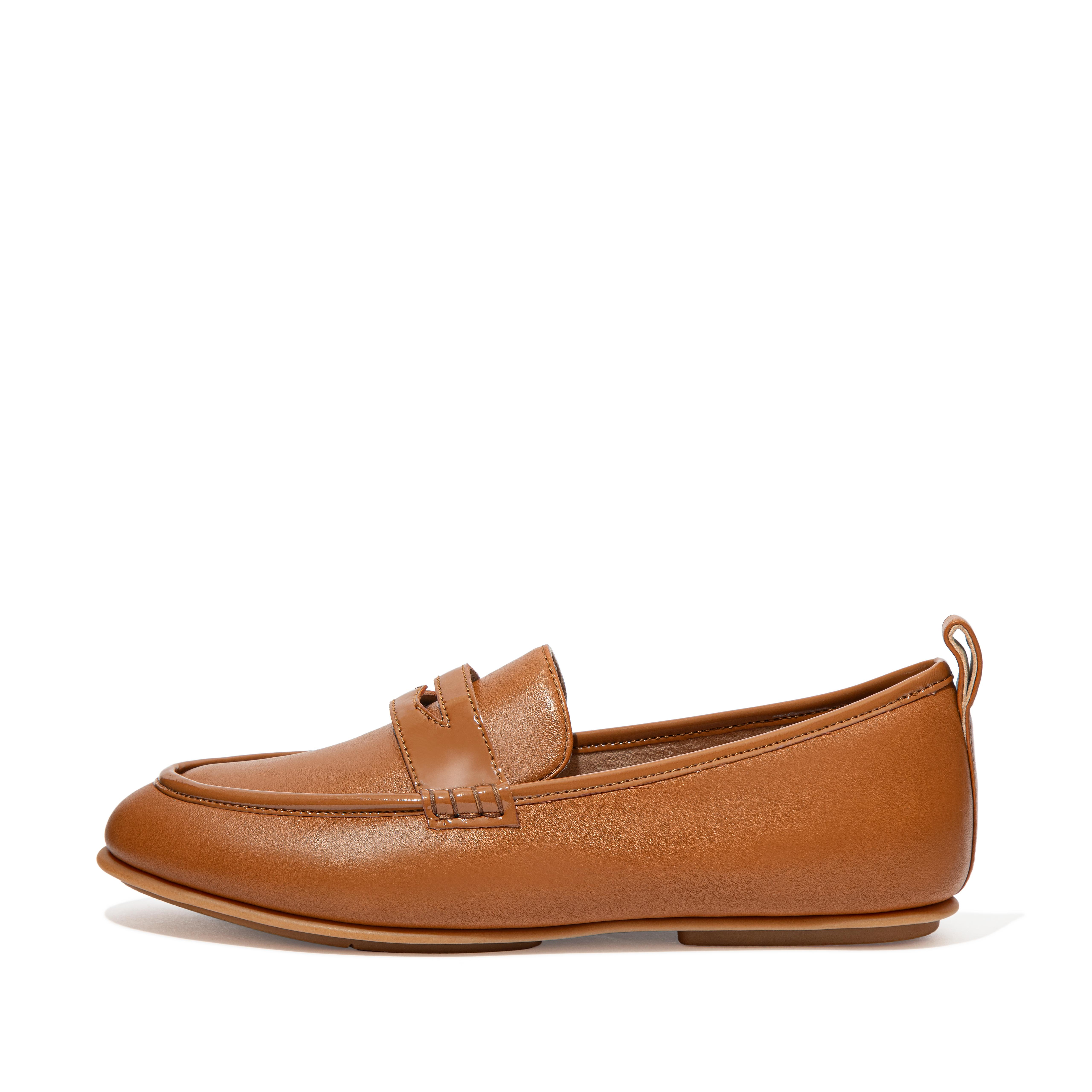 Womens Lena Leather-Pu Loafers , 핏플랍 FitFlop US,Light Tan